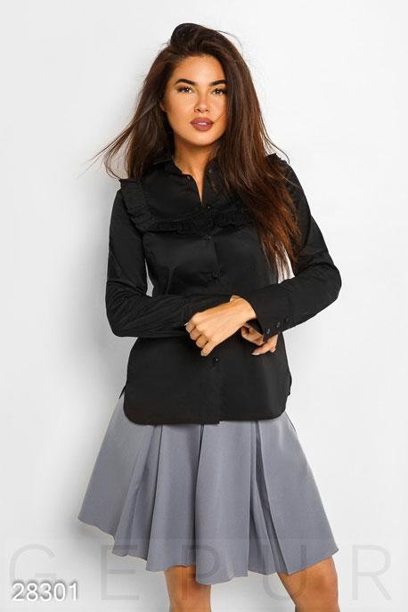 Купить Блузы, рубашки / Большие размеры, Однотонная хлопковая рубашка, Рубашка(батал)-28301, GEPUR, черный