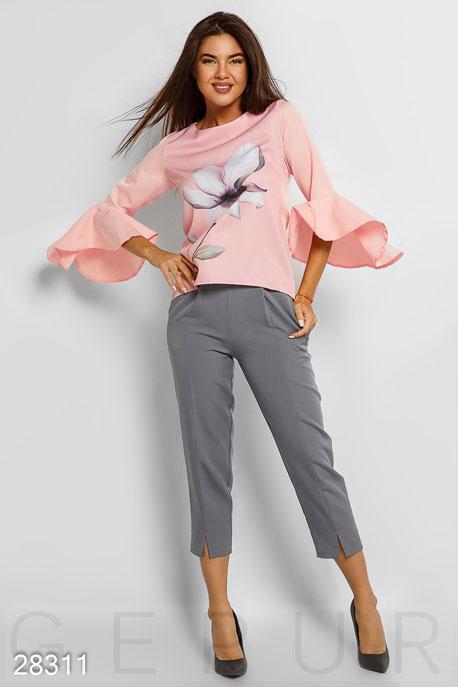 Купить Брюки, леггинсы, шорты / Большие размеры, Зауженные офисные брюки, Брюки(батал)-28311, GEPUR, серый