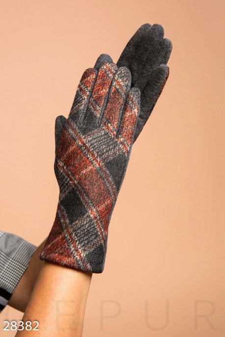 Купить Перчатки, шарфы, шапки / Перчатки, Теплые трикотажные перчатки, Перчатки-28382, GEPUR, красно-серый