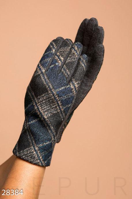 Купить Перчатки, шарфы, шапки / Перчатки, Трикотажные перчатки в клетку, Перчатки-28384, GEPUR, сине-серый