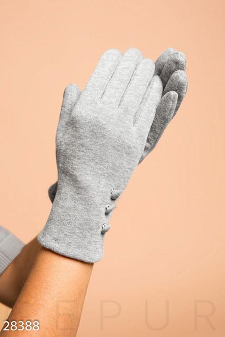 Купить Перчатки, шарфы, шапки / Перчатки, Лаконичные трикотажные перчатки, Перчатки-28388, GEPUR, светло-серый