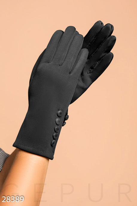 Купить Перчатки, шарфы, шапки / Перчатки, Аккуратные демисезонные перчатки, Перчатки-28389, GEPUR, черный