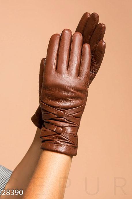 Купить Перчатки, шарфы, шапки / Перчатки, Кожаные женские перчатки, Перчатки-28390, GEPUR, светло-коричневый