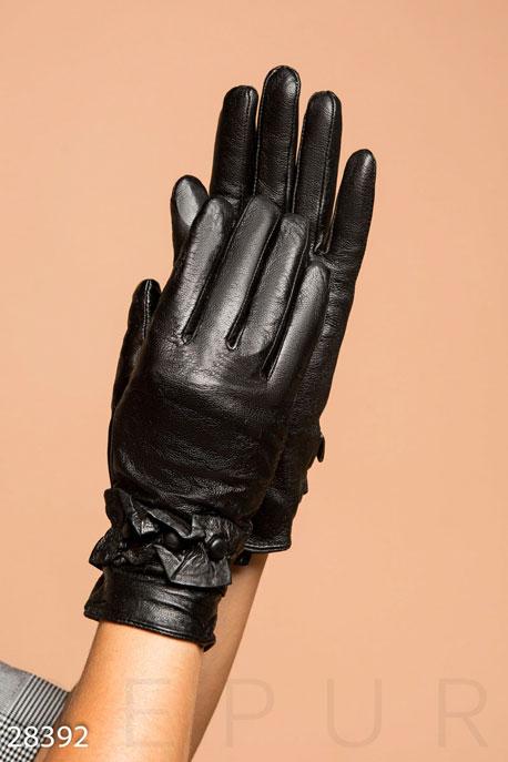 Купить Перчатки, шарфы, шапки / Перчатки, Демисезонные кожаные перчатки, Перчатки-28392, GEPUR, черный