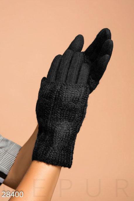 Купить Перчатки, шарфы, шапки / Перчатки, Шерстяные перчатки-митенки, Перчатки-28400, GEPUR, черный