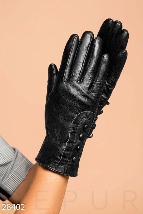 Купить Перчатки, шарфы, шапки / Перчатки, Кожаные женские перчатки, Перчатки-28402, GEPUR, черный