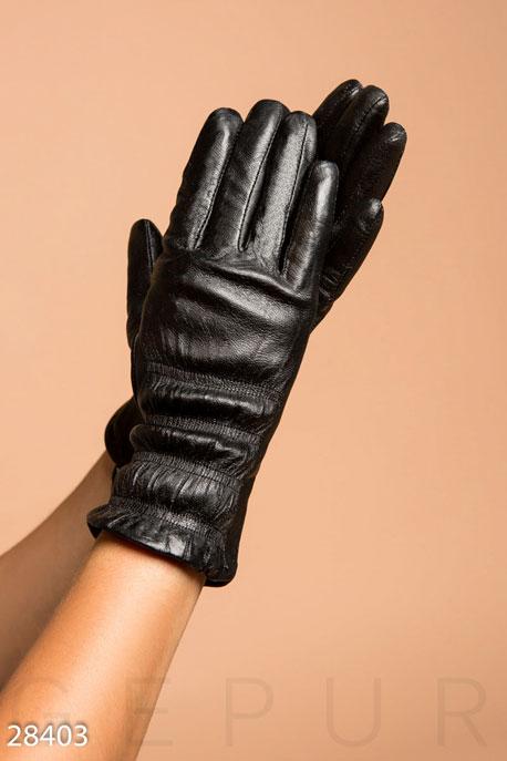 Купить Перчатки, шарфы, шапки / Перчатки, Теплые кожаные перчатки, Перчатки-28403, GEPUR, черный