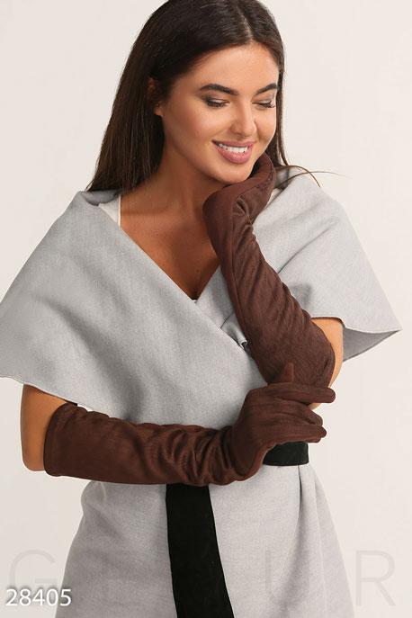 Купить Перчатки, шарфы, шапки / Перчатки, Длинные трикотажные перчатки, Перчатки-28405, GEPUR, темно-коричневый