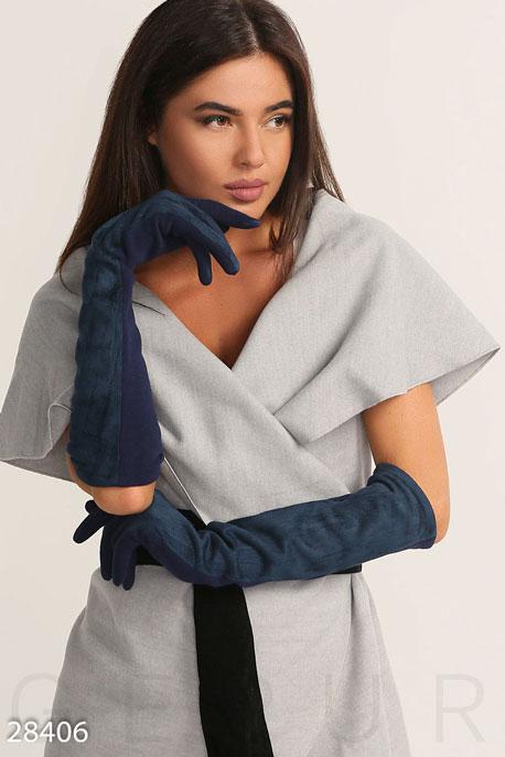 Перчатки, шарфы, шапки / Перчатки, Демисезонные длинные перчатки, Перчатки-28406, GEPUR, темно-синий  - купить со скидкой