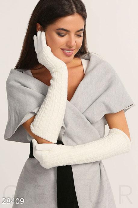 Купить Перчатки, шарфы, шапки / Перчатки, Длинные теплые перчатки, Перчатки-28409, GEPUR, молочный