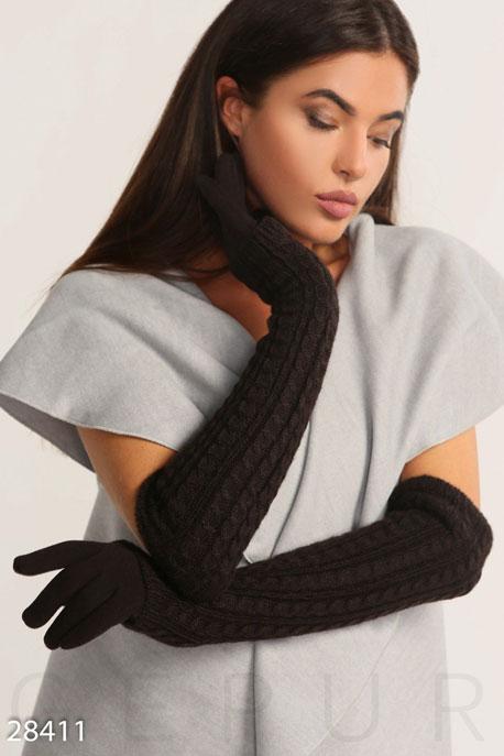Купить Перчатки, шарфы, шапки / Перчатки, Теплые женские перчатки, Перчатки-28411, GEPUR, темно-коричневый