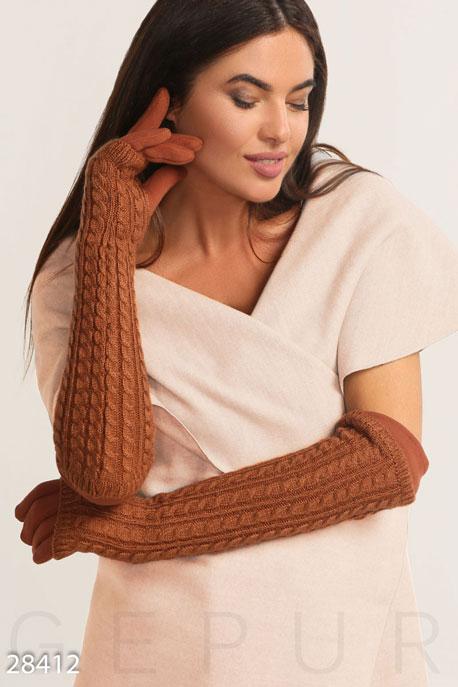Купить Перчатки, шарфы, шапки / Перчатки, Перчатки с вязаными митенками, Перчатки-28412, GEPUR, медно-коричневый