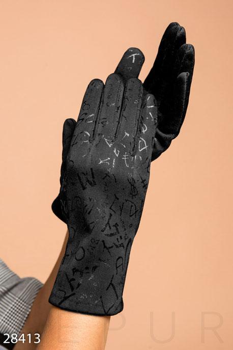 Купить Перчатки, шарфы, шапки / Перчатки, Перчатки с узорами, Перчатки-28413, GEPUR, черный