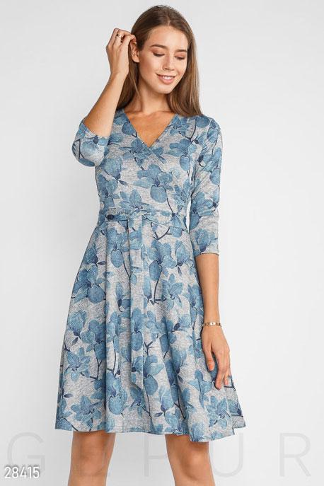 Купить Платья / Миди, Цветочное женское платье, Платье-28415, GEPUR, серо-голубой