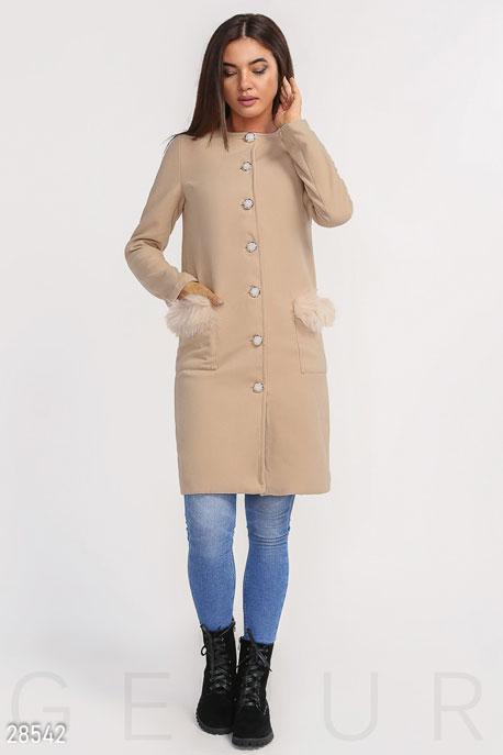 Минималистичное пальто с мехом GEPUR