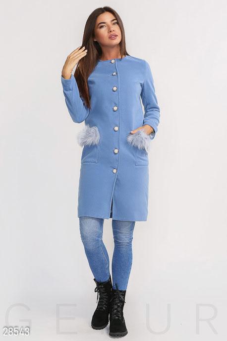 Комфортное пальто с мехом купить в интернет-магазине в Москве, цена 1829.56 |Пальто-28543
