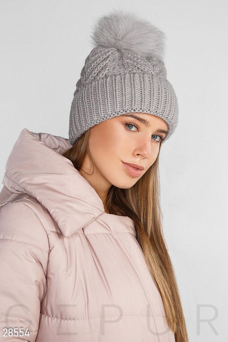 вязаная женская шапка купить оптом и в розницу Gepur цвет