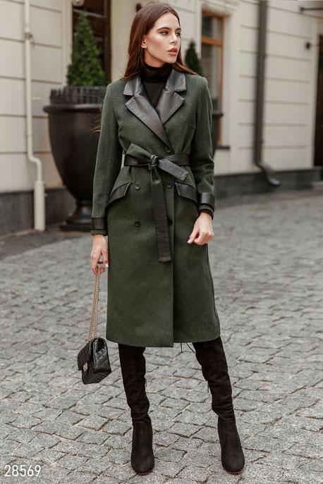 Купить Верхняя одежда / Premium, Двубортное шерстяное пальто, Пальто-28569, GEPUR, темно-зеленый