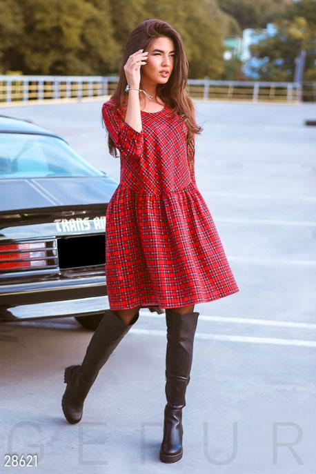 Купить Платья / Миди, Свободное клетчатое платье, Платье-28621, GEPUR, красный