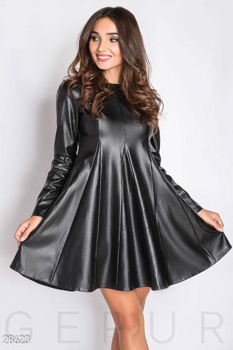 Купить Платья / Мини, Расклешенное кожаное платье, Платье-28623, GEPUR, черный
