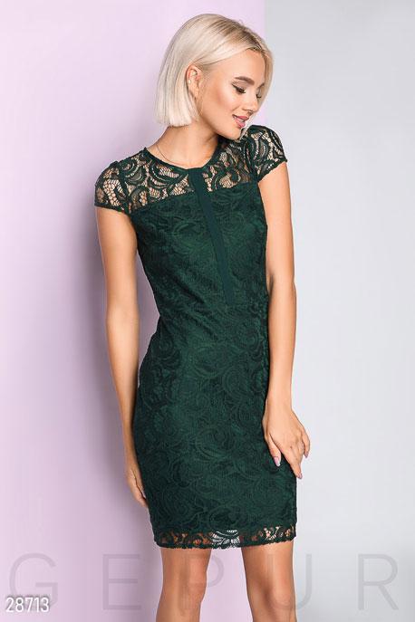 Купить Платья / Мини, Облегающее платье из гипюра, Платье-28713, GEPUR, изумрудный