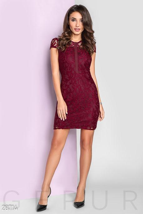 Купить Платья / Мини, Вечернее платье из гипюра, Платье-28714, GEPUR, марсала
