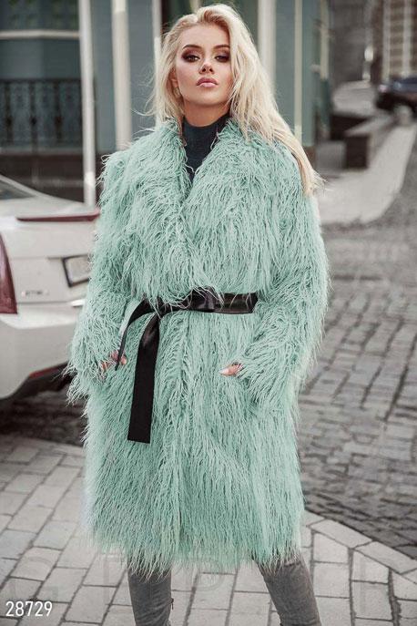 Купить Верхняя одежда / Premium, Цветная шуба из ламы, Шуба-28729, GEPUR, мятный