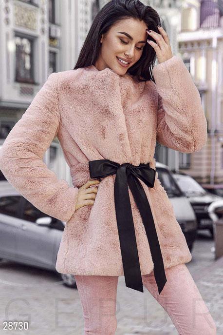Купить Верхняя одежда / Premium, Шуба с поясом, Шуба-28730, GEPUR, бледно-розовый