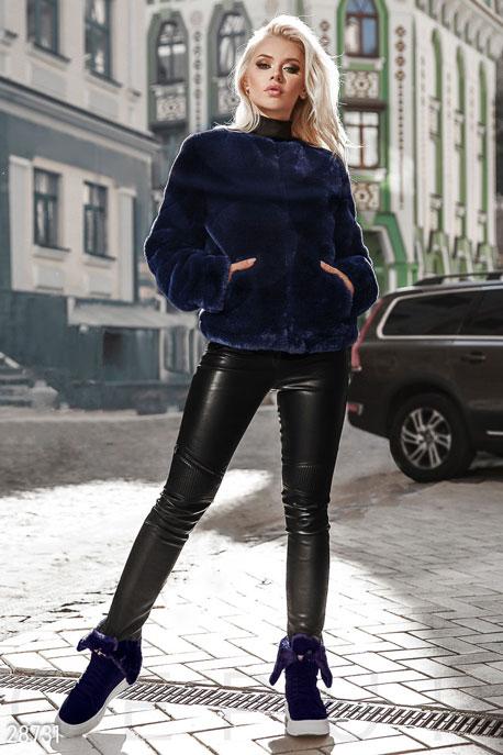 Купить Верхняя одежда / Premium, Теплый меховой жакет, Шуба-28731, GEPUR, темно-синий