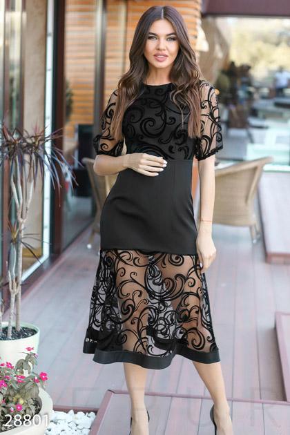 Купить Платья / Большие размеры, Праздничное платье-рыбка, Платье(батал)-28801, GEPUR, черный