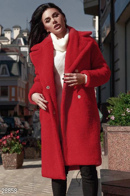 Купить Верхняя одежда / Premium, Пальто Teddy Bear, Шуба-28858, GEPUR, насыщенный красный
