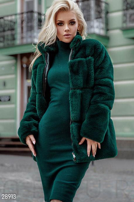 Купить Верхняя одежда / Premium, Комбинированная эко-шуба, Шуба-28913, GEPUR, изумрудный