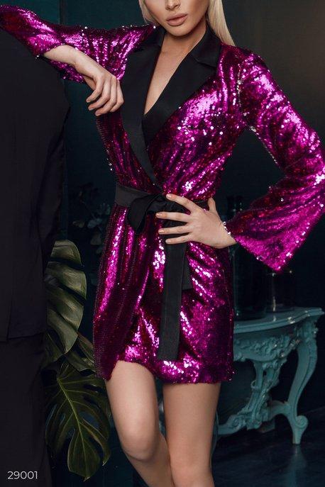 Купить Платья / Алёна Шишкова, Платье-пиджак с пайетками, Платье-29001, GEPUR, малиново-серебристый