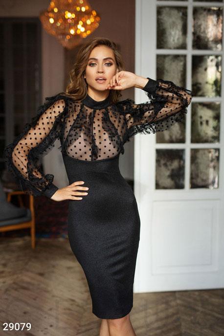 Купить Платья / Premium, Платье-миди с оборками, Платье-29079, GEPUR, черный