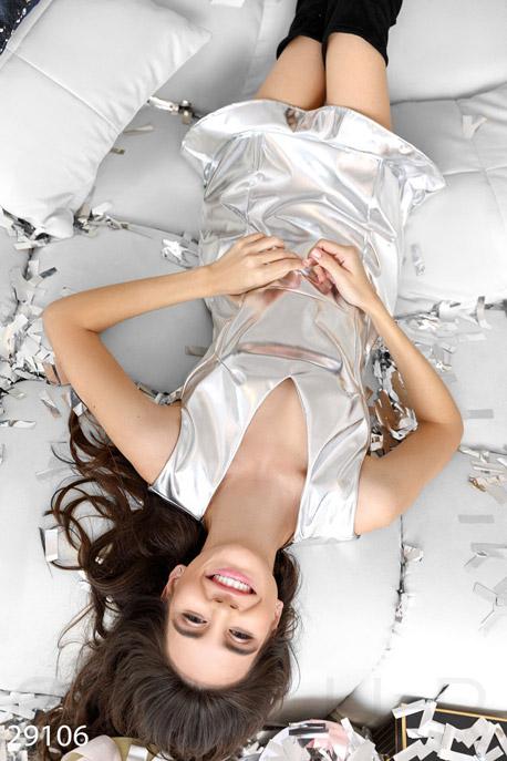 Купить Платья / Мини, Эффектное кожаное платье, Платье-29106, GEPUR, металлик