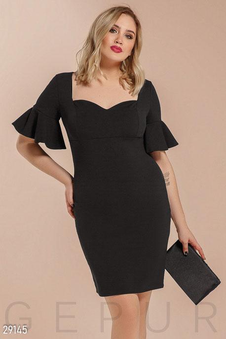 Купить Платья / Большие размеры, Платье с рукавом-воланом, Платье(батал)-29145, GEPUR, черный
