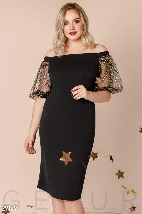 Купить Платья / Большие размеры, Платье с эффектными рукавами, Платье(батал)-29149, GEPUR, черно-золотистый