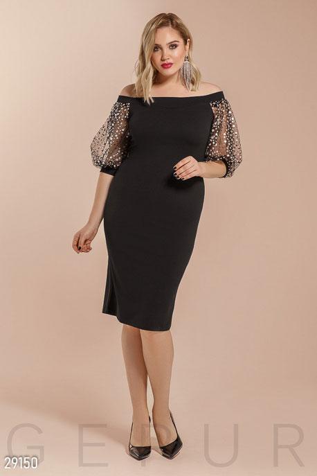 Купить Платья / Большие размеры, Платье с открытыми плечами, Платье(батал)-29150, GEPUR, черно-серебристый