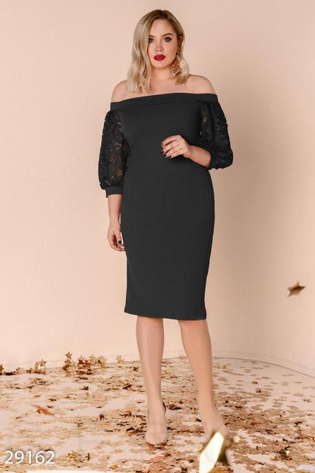 Купить Платья / Большие размеры, Платье с рукавом-фонарик, Платье(батал)-29162, GEPUR, черный