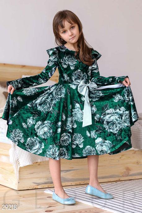 Купить Детская одежда, Платье с воланами, Платье-29218, GEPUR, изумрудный