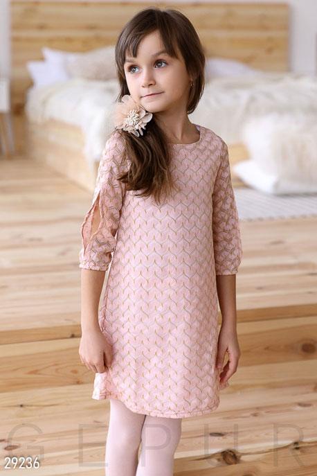 Купить Детская одежда, Детское платье-трапеция, Платье-29236, GEPUR, пудрово-золотистый