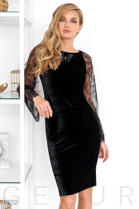 Купить Платья / Миди, Платье со шнуровкой, Платье-29293, GEPUR, черный