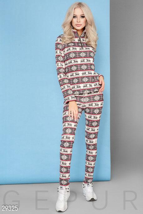 Купить Костюмы и комплекты / Низ леггинсы, Флисовый костюм с рисунком, Костюм-29325, GEPUR, серо-белый