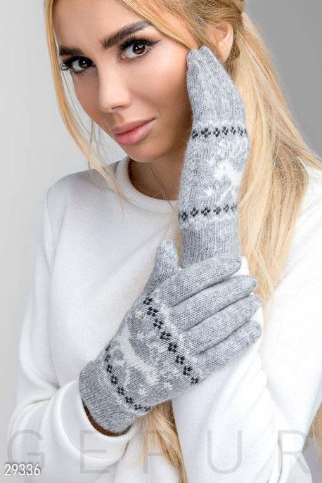 Купить Перчатки, шарфы, шапки / Перчатки, Теплые перчатки с рисунком, Перчатки-29336, GEPUR, серый