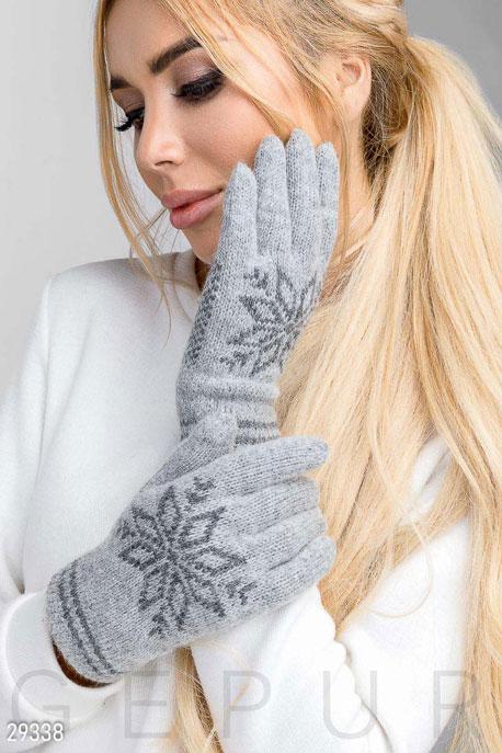 Купить Перчатки, шарфы, шапки / Перчатки, Теплые перчатки с рисунком, Перчатки-29338, GEPUR, серый