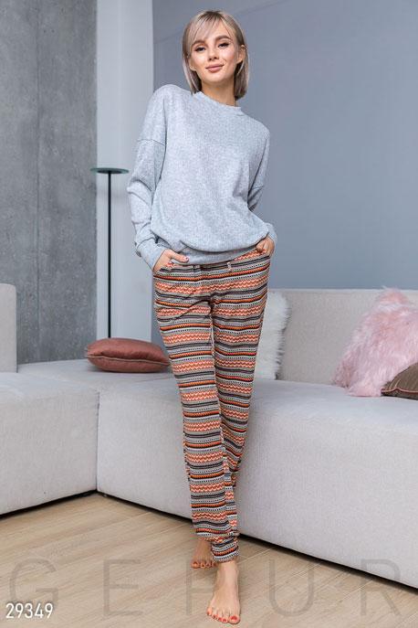 Купить Одежда для дома, Стильные домашние брюки, Брюки-29349, GEPUR, оранжево-черный
