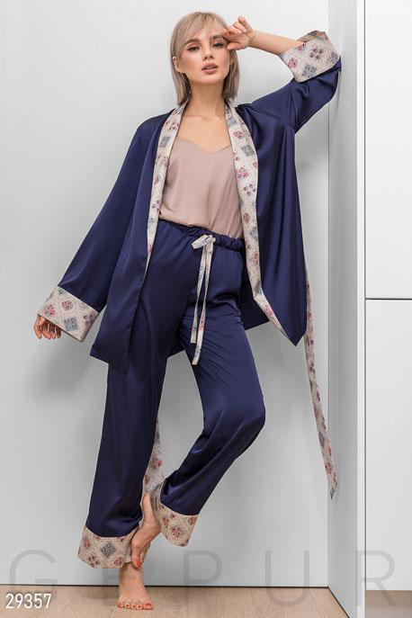 Купить Нижнее бельё, пижама / Пижама, Стильная шелковая пижама, Пижама-29357, GEPUR, темно-синий