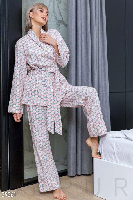 Купить Нижнее бельё, пижама / Пижама, Теплая пижама с принтом, Пижама-29361, GEPUR, розово-голубой