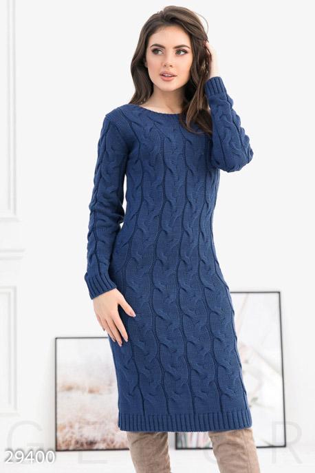 Купить Платья / Теплые, Вязаное платье-миди, Платье-29400, GEPUR, темно-синий