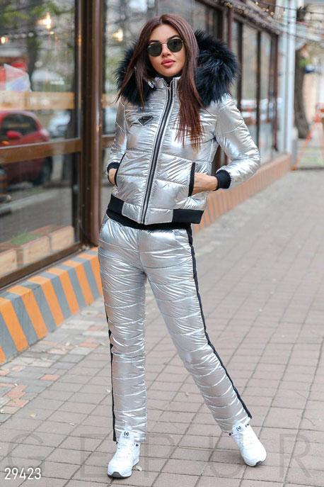 Купить Верхняя одежда / Дутые костюмы и комбинезоны, Зимний стеганый костюм, Костюм-29423, GEPUR, серебристо-черный
